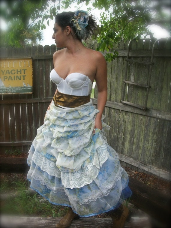 Reserved- Wedding Eco Skirt in Blue- A place to call home