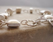 Solid Sterling Silver Brushed Bead Link Bracelet with Toggle Clasp
