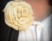 Handmade Ivory Felt Flower Brooch Pin