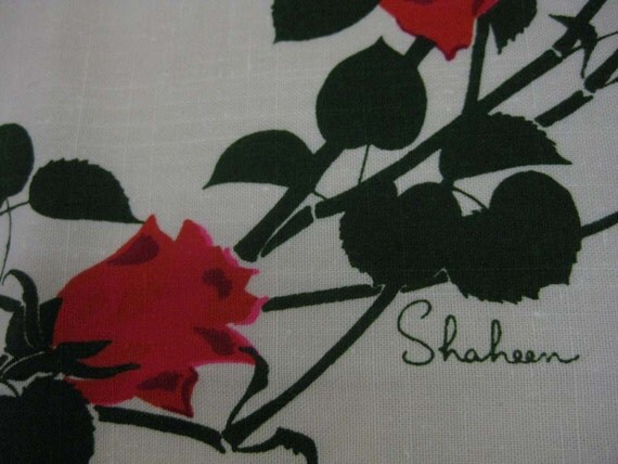 Vintage Alfred Shaheen Rose Linen Fabric