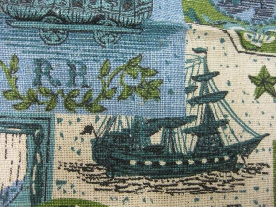 Blue and Green Vintage Early American 1890s Theme Maritime Print Fabric