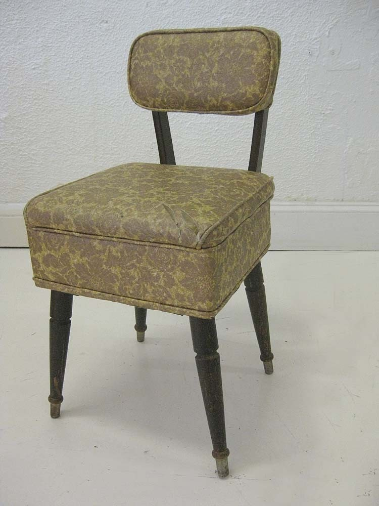 Vintage sewing chair with notions storage by for Chair with storage