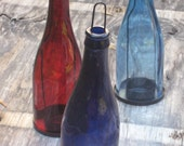 Glass Bottle Wine Bottle Lantern Candle Holder Lantern Hanging Cobalt Blue Navy Royal Red Burgundy Dark Blue