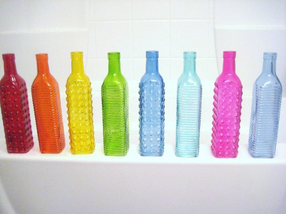 Colorful Tall Glass Bottles Red Orange Yellow Green Blue Aqua Pink Teal Navy Wedding Centerpieces Flowers