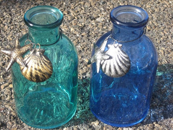 Cobalt Blue Aqua Blue Turquoise Teal Glass Bottles Green Beach Wedding Starfish Seashells Charm Diffuser Vase