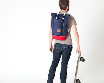Navy body/Red base Roll Top Backpack (Medium)