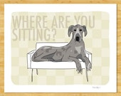 Blue Merle Great Dane Art Print - Where Are You Sitting - Great Dane Gifts Funny Dog Art