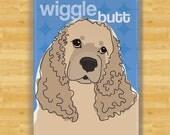 Cocker Spaniel Magnet - Wiggle Butt - Buff Color Cocker Spaniel Gifts Dog Fridge Refrigerator Magnets