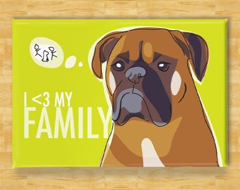 Boxer Magnet - I Heart My Family - Boxer Gifts Dog Fridge Refrigerator Magnets
