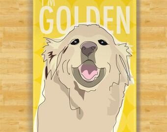 Fridge Magnet with Golden Retriever - I am Golden - Retriever Gifts Dog Refrigerator Fridge Magnets