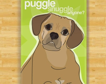 Dog Magnet with Puggle - Puggle Snuggle Anyone - Puggle Gifts Refrigerator Fridge Dog Magnets