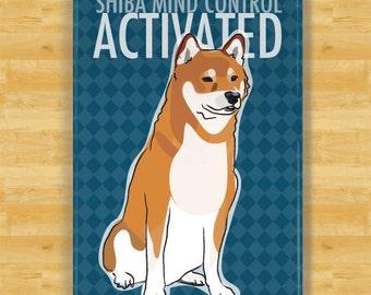 Shiba Inu Refrigerator Magnet - Shiba Mind Control Activated - Shiba Inu Gifts Fridge Dog Refrigerator Magnets
