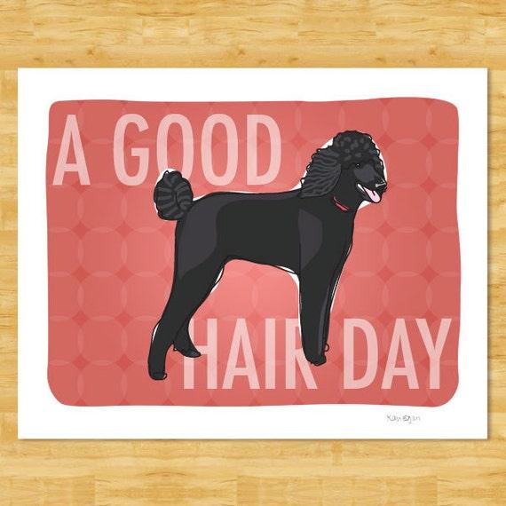 Poodle Art Print Funny Dog Art - A Good Hair Day - Black Standard Poodle Dog Gifts