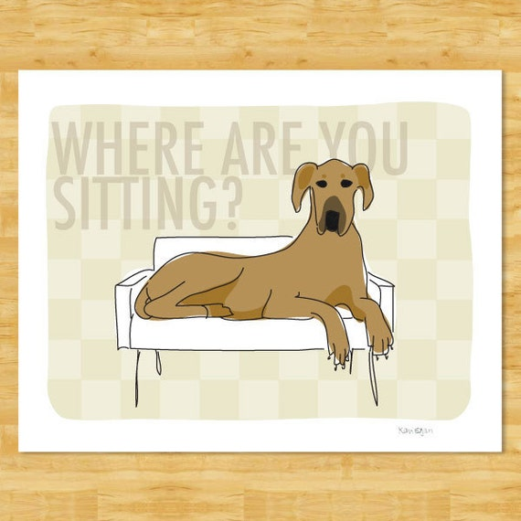 Great Dane Art Print - Where Are You Sitting - Fawn Great Dane Gifts Funny Dog Pop Art
