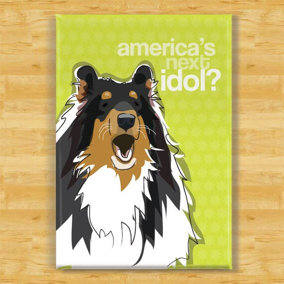 Collie Magnet - America's Next Idol - Tri Color Collie Gifts Fridge Dog Refrigerator Magnets