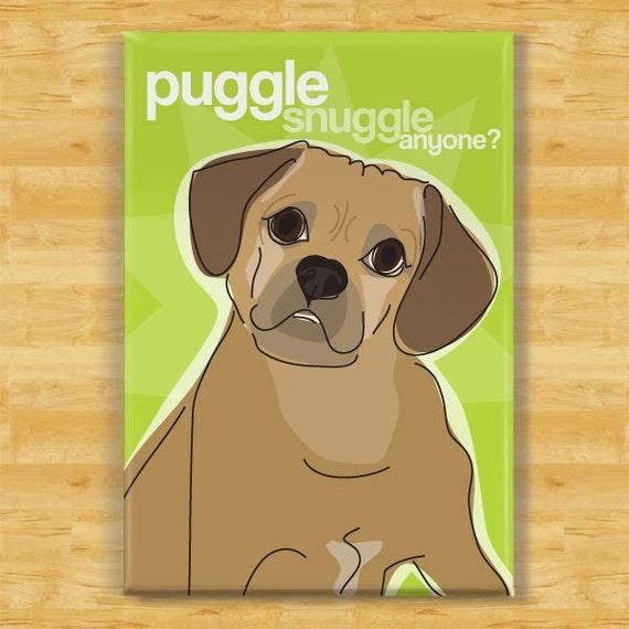 Dog Magnet with Puggle - Puggle Snuggle Anyone - Puggle Gifts Refrigerator Fridge Dog Magnets