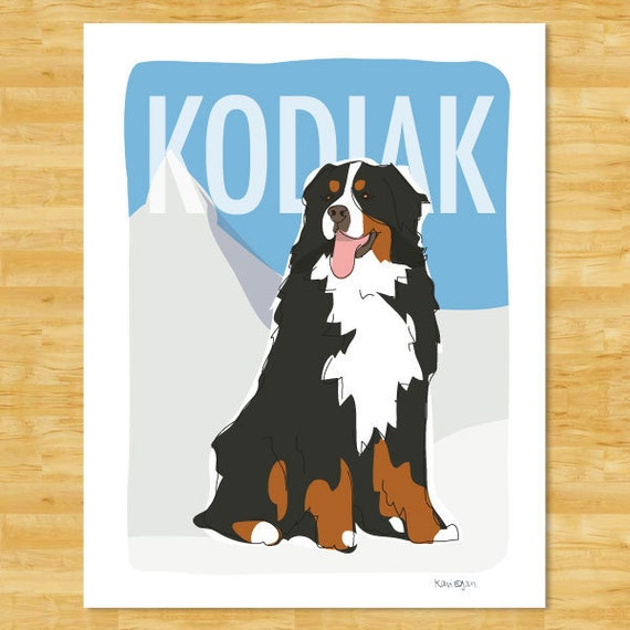 Personalized Custom Bernese Mountain Dog Art Print - Personalized Bernese Mountain Dog Gifts