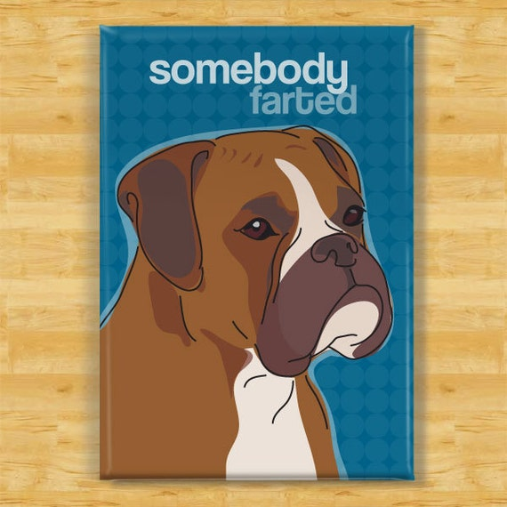 Boxer Magnet - Somebody Farted - Boxer Gifts Dog Refrigerator Fridge Magnets