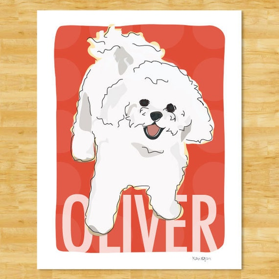 Personalized Custom Bichon Frise Art Print - Dog Pop Art Bichon Frise Gifts for Dog Lovers