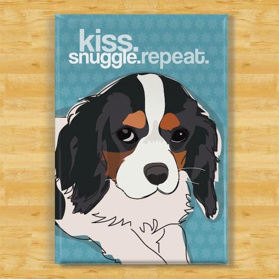 Cavalier King Charles Spaniel Magnet - Kiss Snuggle Repeat - Tri Color Cavalier King Charles Spaniel Gifts Refrigerator Fridge Dog Magnets