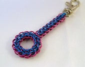 Pink & Blue Anodized Aluminum Circle Chainmaille Keychain