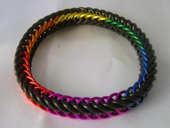 Black and Rainbow Stretchy Bracelet