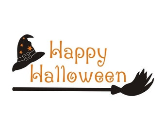 Happy Halloween vinyl decal, Halloween sign vinyl wall window removable decals stickers