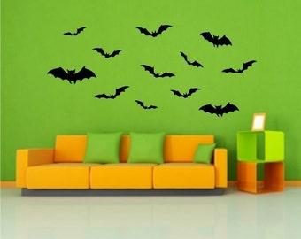Bats Vinyl Decals 24 Pack  Halloween vinyl wall window decals stickers