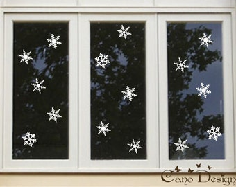 "4"" Snowflakes Vinyl Decals Pack of 15"