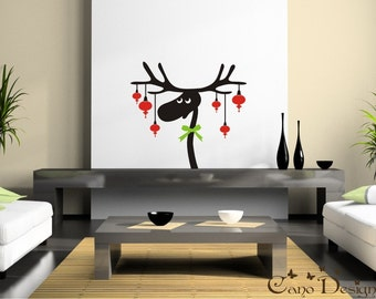 Reindeer Ornaments Vinyl Decal - Holidays decals stickers, vinyl wall window decal