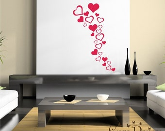 25 Hearts 5 sizes & 2 designs - Valentine's Vinyl Decals Stikers For Walls, Windows, Glass, Cars, Mirrors and More