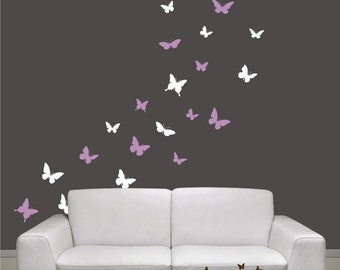 Butterflies Set of 24, 2 colors, Vinyl wall decals, living room, nursery, kids & teens room, removable decals stickers