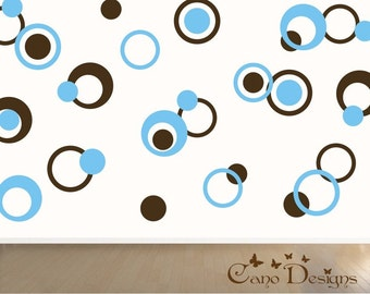 Dots & Rings, 2 colors, Vinyl decals, living room, nursery, kids room, teens room, removable decals stickers