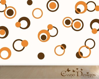 Dots & Rings, 3 colors, Vinyl decals, living room, nursery, kids room, teens room, removable decals stickers