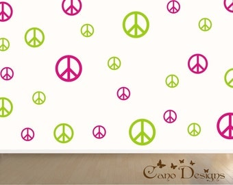 Peace Signs Set of 24, 2 colors, vinyl wall decals, living room, nursery, kids & teens room, removable decals stickers