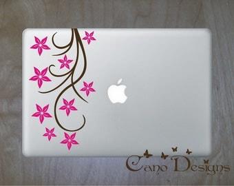Floral Laptop Skin Vinyl Decal 2 colors- Branch Vinyl decal sticker, flowers decals stickers