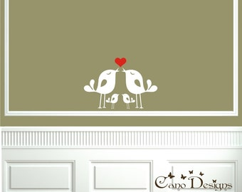 Lovely Bird Family, Vinyl wall decals stickers, living room, nursery, home decor, removable decals stickers