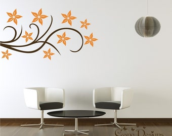 Floral Design Vinyl Decal, Wall Decals Stickers, removable wall decal decor sticker
