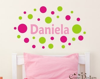 Personalized Name With Polka Dots, Custom Vinyl wall decals stickers, nursery, kids & teens room, removable decals stickers
