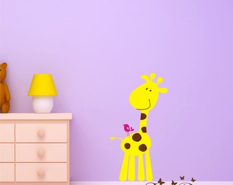 Cute Giraffe and bird Vinyl Wall Decal, Playroom, nursery, kids room, removable decals stickers