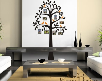 Tree with Photo Frames and birds vinyl wall decal, tree frame vinyl wall decal, removable decals stickers