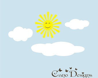 Sun & Clouds vinyl wall decal, kids room, custom removable decals stickers