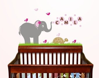 Cute Animals with Custom Name Vinyl Wall Decal, Playroom, nursery, kids room, removable decals stickers
