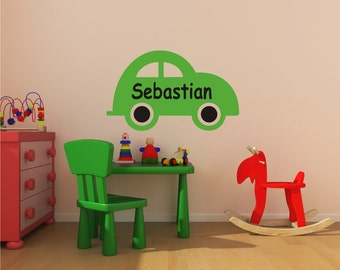 Car with Personalized Name, nursery, kids room, playroom, custom removable decals stickers