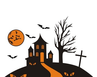 Haunted House vinyl decal, Halloween  vinyl wall window removable decals stickers