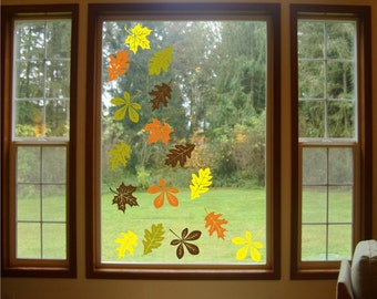 16 set Autumn Leaves Vinyl decals - vinyl wall window decals stickers