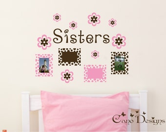 Personalized Name with Photo Frames and Flowers, nursery, kids & teens room, custom removable decals stickers
