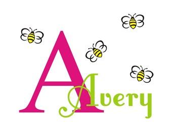 Custom Name Monogram Name Bumblebees, nursery, kids & teens room, custom removable decals stickers
