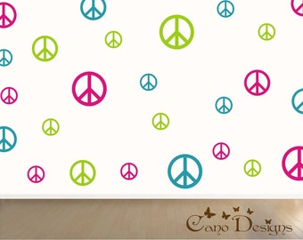 Peace Signs Set of 36, 3 colors, vinyl wall decals, living room, nursery, kids & teens room, removable decals stickers