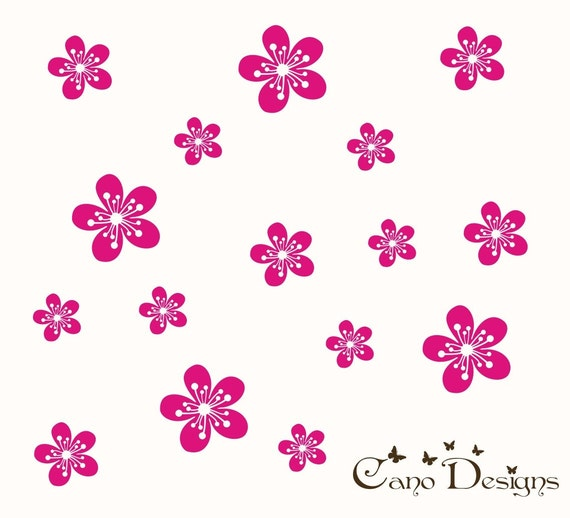 Flowers Set of 12, Flowers 12 Pack, vinyl wall decals, living room, nursery, kids & teens room, removable decals stickers